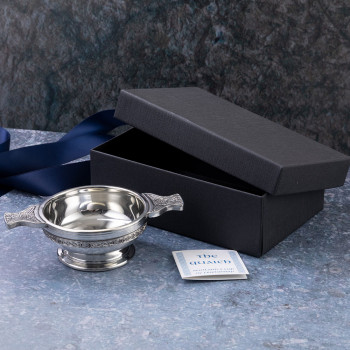 Scottish Pewter Quaich Bowl with Celtic Band and Decorative handles and Box