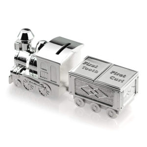 Silver Train Money Box With First Curl & Tooth Carriage