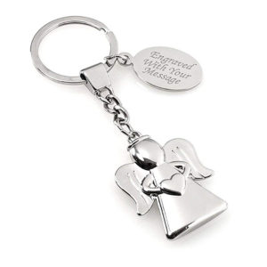 Silver Guardian Angel Keyring
