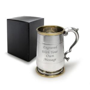 1 Pint Pewter Hallam Tankard with Brass Trim