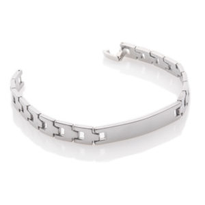 Unisex Solid Stainless Steel Identity Bracelet 7.75""