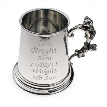 Pewter Childs Tankard With Climbing Teddy Bear Design Handle