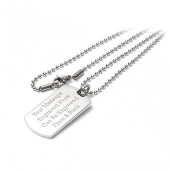 Dog Tag Identity Pendant Necklace