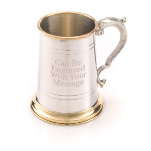1 Pint Pewter & Brass Tankard/Mug Georgian Handle