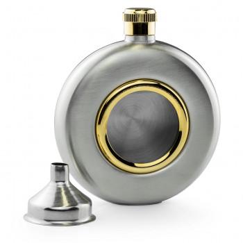 5oz Porthole With Brass Trim Hip Flask