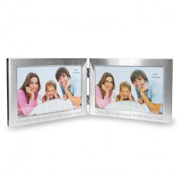 """Frame Double Aluminium Main 350x350 - 6"""" x 4"""" Brushed Finish Double Photo Frame"""