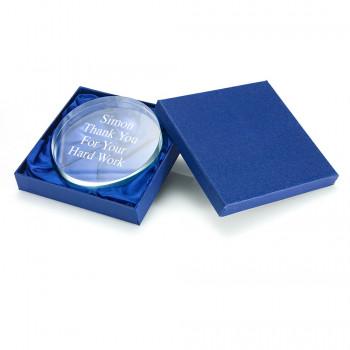Glass Round Paperweight in Presentation Box
