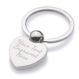 Satin Chrome Heart Keyring