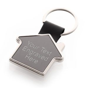 HouseKeyring01 untitled sessionTEXT 300x300 - House Shaped 'New Home' Keyring In A Black Chrome Finish
