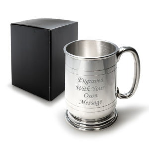 1 Pint Pewter Jacobean Tankard with C Shaped Handle