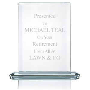 "Large Executive Glass Award / Trophy 7.5"" Laser Engraved"