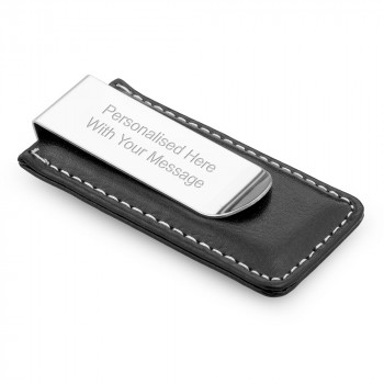 Stitched Leather Money Clip