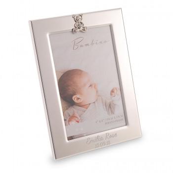 "4"" x 6' Silver Photo Frame With Teddy Design Birth/Christening/Baby"
