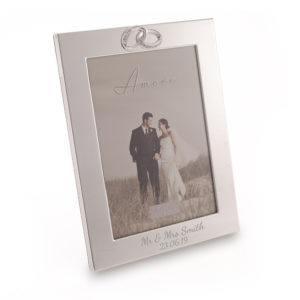 "5"" x 7' Silver Plated Wedding Rings Photo Frame"