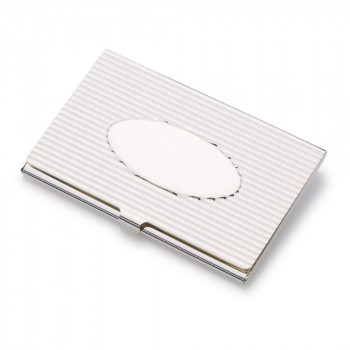 Silver Plated Ribbed Business/Credit Card Holder