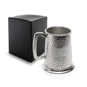 1 Pint Pewter Hammered Finish Tankard
