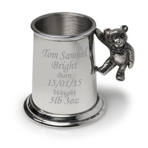 Baby Pewter Tankard with Teddy Handle