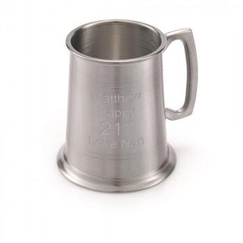 1 Pint Pewter Satin Finish Tankard/Mug
