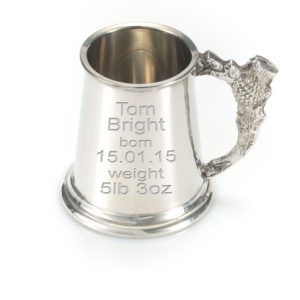 Pewter Childs Tankard With Thistle Design Handle