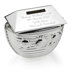 71UxGyyCIKL. text  1 300x300 - Silver Noah's Ark Money Box Bank