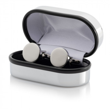 Silver Plated Round Cufflinks Engraved Chrome Case