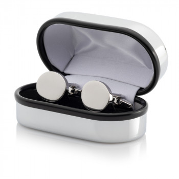 Silver Plated Oval Cufflinks Engraved Chrome Case