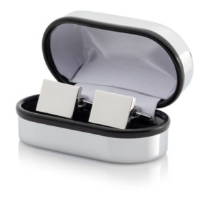 11 Cufflinks 300x300 - Silver Plated Rectangular Cufflinks With Chrome Case