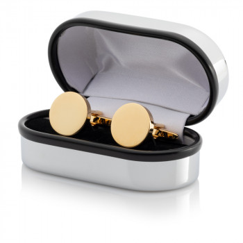 Gold Plated Round Cufflinks Engraved Chrome Case
