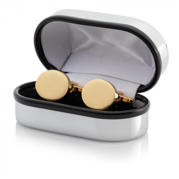 Gold Plated Oval Cufflinks Engraved Chrome Case