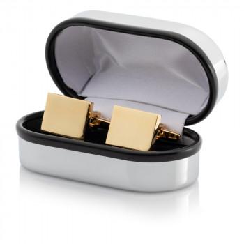 Gold Plated Rectangular Cufflinks Engraved Chrome Case