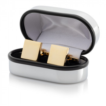 Gold Plated Square Cufflinks Engraved Chrome Case