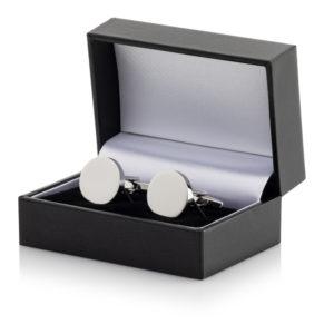 17 Cufflinks 300x300 - Silver Plated Round Cufflinks Leatherette Case