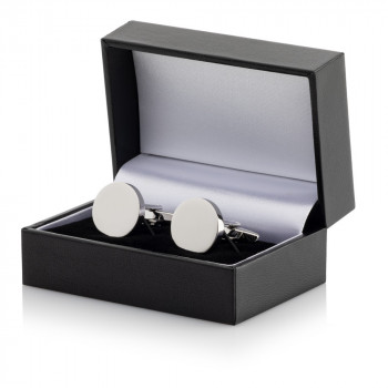 Silver Plated Round Cufflinks Leatherette Case