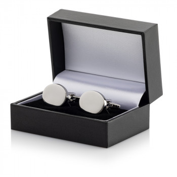 Silver Plated Oval Cufflinks Leatherette Case