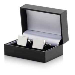 19 Cufflinks 300x300 - Silver Plated Rectangular Cufflinks Leatherette Case