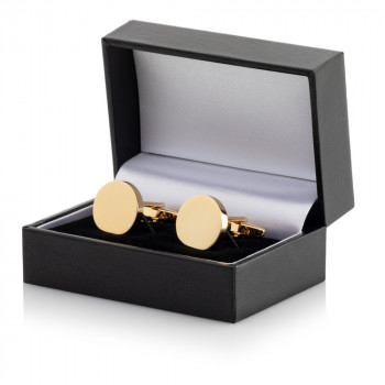 Gold Plated Round Cufflinks Leatherette Case