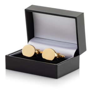 22 Cufflinks 300x300 - Gold Plated Oval Cufflinks Leatherette Case