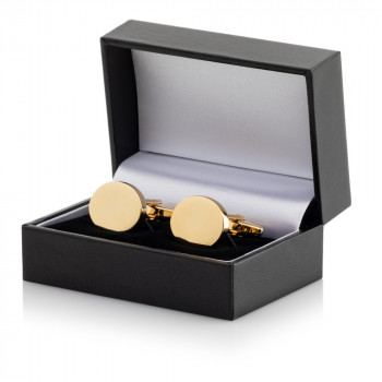 Gold Plated Oval Cufflinks Leatherette Case