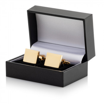 Gold Plated Rectangular Cufflinks Leatherette Case which comes with FREE engravng and FREE Delivery within the UK!