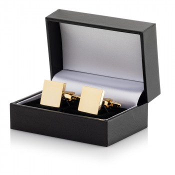 Gold Plated Square Cufflinks Leatherette Case