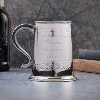 1 Pint Pewter Tankard/Mug Embossed Celtic Design With Satin Finish Band