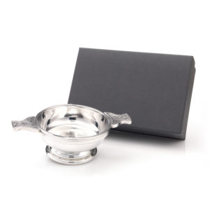 "TQCThistle01 job 8713 1 300x300 - 4"" Pewter Scottish Quaich Bowl With Thistle Design"