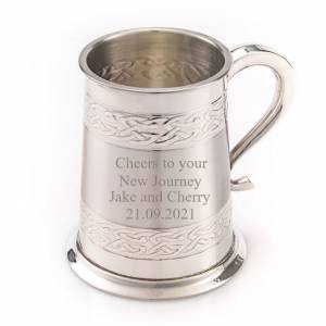 Tankard Celtic Bands with New Journey Engraving