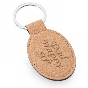 01 cork oval keyring 1 350x350 - Natural Cork Oval Keyring