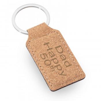 01 cork rectangle keyring 1 350x350 - Natural Cork Rectangular Keyring