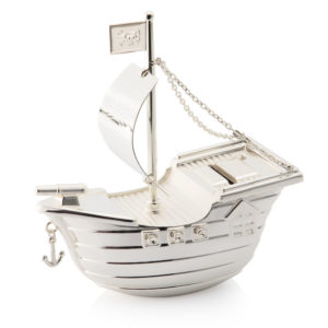 02 ShipMoneybox 300x300 - Silver Pirate Ship/Boat Money Box