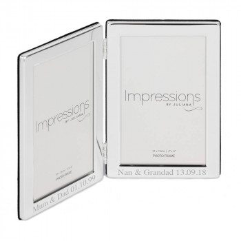 4x6 silver plated double frame 02 2 350x350 - 4'' X 6'' Silver Plated Hinged Double Photo Frame