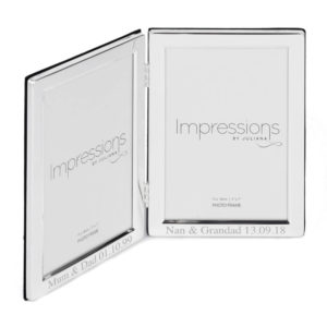 5x7 silver plated double frame 02 2 300x300 - 5 X 7 Silver Plated Hinged Double Photo Frame