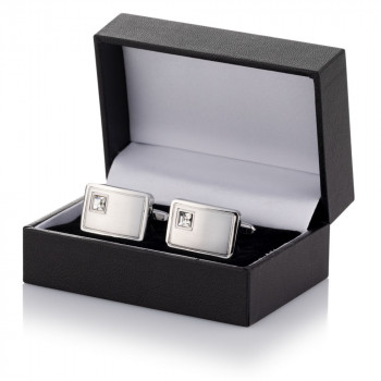 Crystal Cufflinks Packaged in Leatherette Case