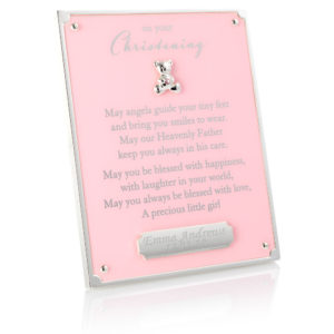 pink on your christening plaque 01 1 300x300 - On Your Christening Pink Plaque With Engraving Plate